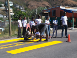 STUDENTS OF COLIHAUT PRIMARY SCHOOL PAINT PEDESTRIAN CROSSING IN SCHOOL SAFETY MISSION